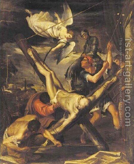 The Crucifixion of Saint Peter by Italian School - Reproduction Oil Painting