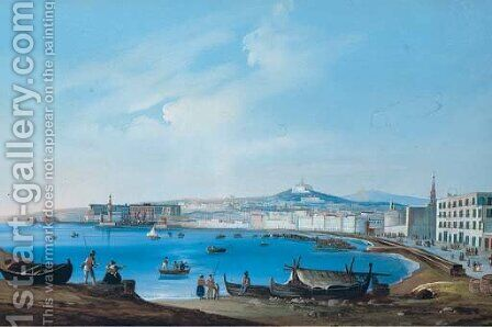 A view of Naples from the countryside with Vesuvius beyond by Italian School - Reproduction Oil Painting