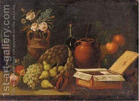 Still life with flowers and fruits by Italian School - Reproduction Oil Painting