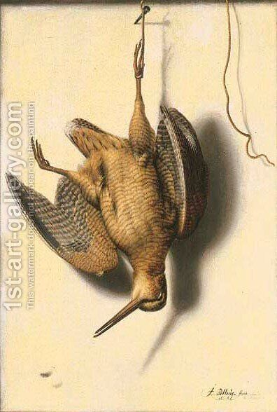 Trompe l'oeil of a partridge suspended from a nail by Jacobus Biltius - Reproduction Oil Painting
