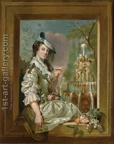 A Portrait Of An Elegant Lady Seated, Three Quarter Length, In A Stone Window by Jan Stolker - Reproduction Oil Painting