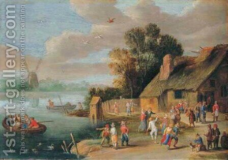 A river landscape with peasants merrymaking beside a cottage by Jan-Pieter Van Bredael - Reproduction Oil Painting
