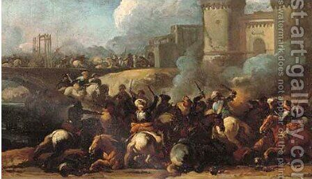A cavalry battle outside a city wall by Marzo Masturzo - Reproduction Oil Painting