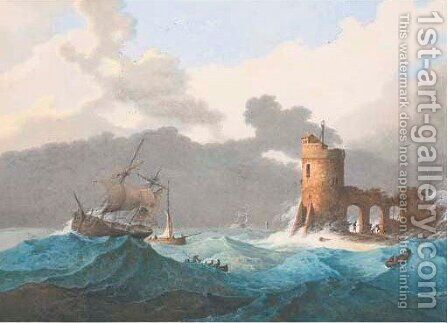 Ships on a choppy sea by a lighthouse by Mattheus Derk Knip - Reproduction Oil Painting