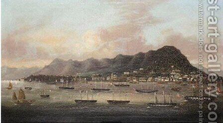 Treaty Ports, Hong Kong by (after) Fong Gua Of Macao - Reproduction Oil Painting