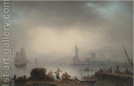 View Of A Mediterranean Port With Figures On The Shore by (after) Francesco Fidanza - Reproduction Oil Painting