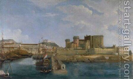 A View Of Castel Della From The Bay Of Trentaremi, Naples by (after) Gabriele Ricciardelli - Reproduction Oil Painting