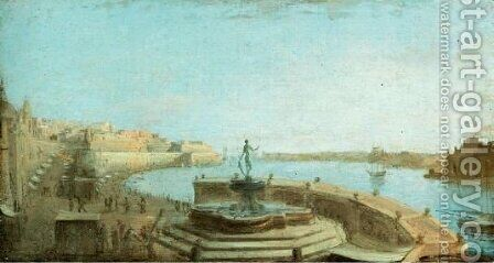 A View Of Valetta Harbour, Malta, From The Neptune Fountain by (after) Giorgio Pullicino - Reproduction Oil Painting