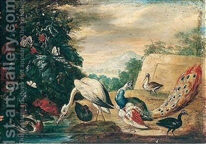 Landscape With Birds by (after) Jan Van Kessel I - Reproduction Oil Painting