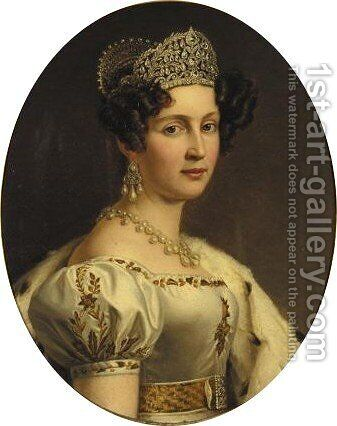 Portrait of Therese Konigin Von Bayern by (after) Joseph Karl Stieler - Reproduction Oil Painting