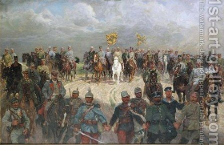 Franz Joseph I Austrian Emperor And Wilhelm II German Emperor With Officers by (after) Ludwig Koch - Reproduction Oil Painting