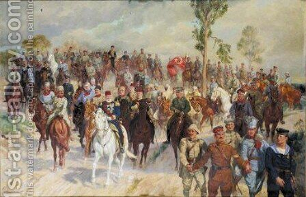 Military Scene With Austrian, German And Turkish Soldiers by (after) Ludwig Koch - Reproduction Oil Painting