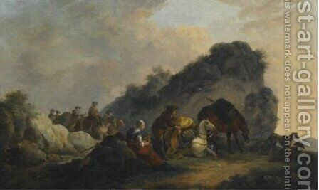 Landcape With Figures Resting by (after) Philip James De Loutherbourg - Reproduction Oil Painting
