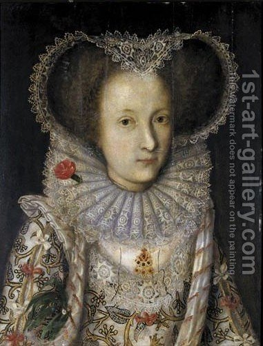 Portrait Von Konigin Elizabeth I. Von England (1533-1603) by (after) William Larkin - Reproduction Oil Painting