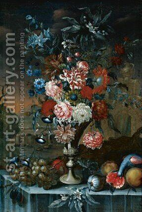 Still Life Of Flowers In A Silver Urn, With Grapes, Other Fruit And A Parrot, All Resting On A Table With A Landscape Beyond by A. Sangiovanni - Reproduction Oil Painting