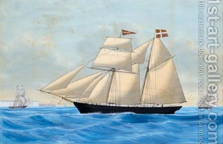 The Danish Schooner Apollo by Andreas Lind - Reproduction Oil Painting