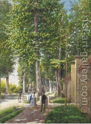 Scene Nel Parco by Antonio Bignoli - Reproduction Oil Painting