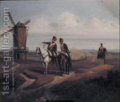 Officers On Horseback Near A Windmill by Eduard Frederich - Reproduction Oil Painting
