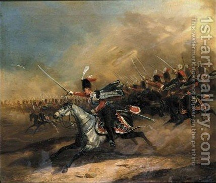 Attack Of The 3rd Royal Prussian Hussar Regiment King Of Hanover, In The Lead Count Solms[parade Des 2. K.k. Osterreichischen Husaren-Regiments Konig Von Han by Eduard Frederich - Reproduction Oil Painting