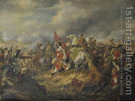 Georg Prince Of Hanover (George I, 1660-1727) In The Battle Of Nerwinden, 29th July 1693 by Heinrich Maria Dietrich Monten - Reproduction Oil Painting