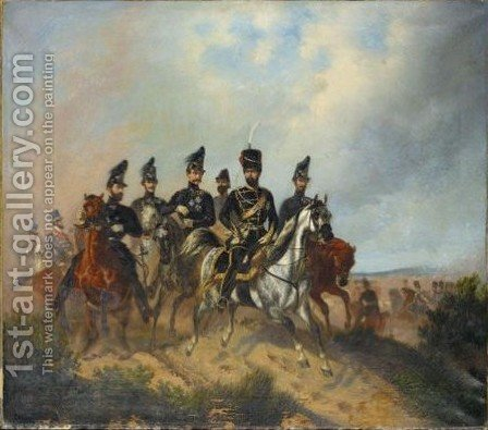 Portrait Of Wilhelm Duke Of Brunswick-Luneburg (1806-1884) On Horseback by Hermann Tunica - Reproduction Oil Painting