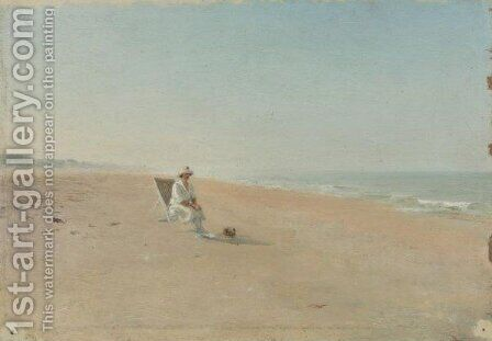 Woman In A Deckchair On The Beach by Ivan Pavlovich Pokhitonov - Reproduction Oil Painting