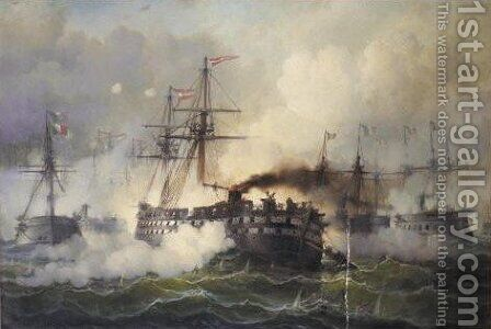 The Naval Battle Of Lissa by J.C.B. Piettner - Reproduction Oil Painting