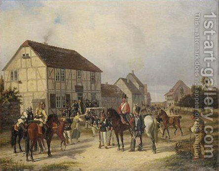 Prussian Soldiers Of The Regiment King Of Hanover Resting By A Tavern by Jacob Munk - Reproduction Oil Painting
