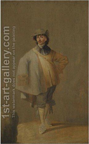 A Portrait Of A Gentleman, Full Length, Wearing A Hat And A Fur Trimmed Cape by Jan Le Ducq - Reproduction Oil Painting
