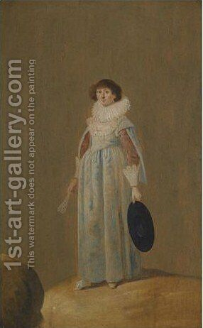 A Portrait Of A Lady, Full Length, Holding a Fan by Jan Le Ducq - Reproduction Oil Painting