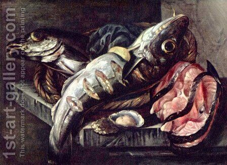 Still life with fish Nederlands Stilleven Vissen met by Abraham Hendrickz Van Beyeren - Reproduction Oil Painting