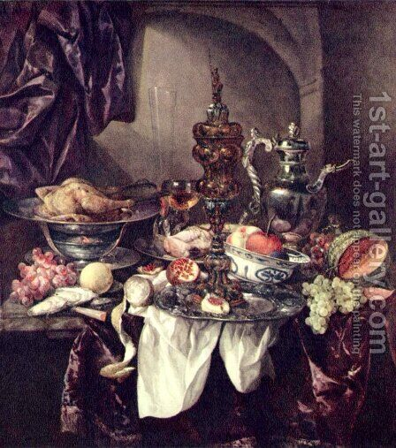 Still life with fruit, roast, silver- and glassware, porcelain and columbine cup on a dark tablecloth with white serviette by Abraham Van Beijeren - Reproduction Oil Painting
