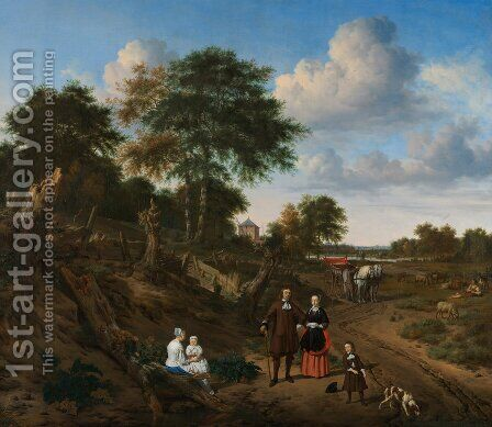 Portrait of a couple with two children and a nursemaid in a landscape. Nederlands Portret van een echtp by Adriaen Van De Velde - Reproduction Oil Painting