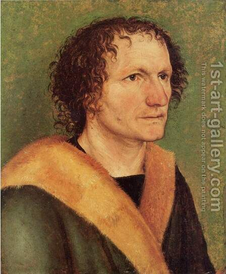 Male portrait in a green background by Albrecht Durer - Reproduction Oil Painting