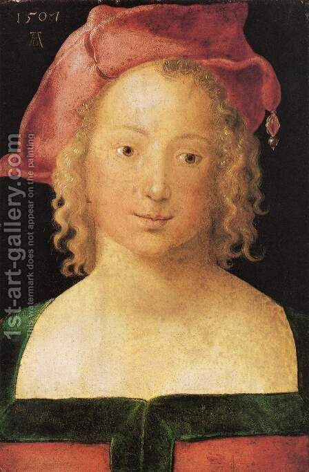 Portrait of a young girl with red cap by Albrecht Durer - Reproduction Oil Painting