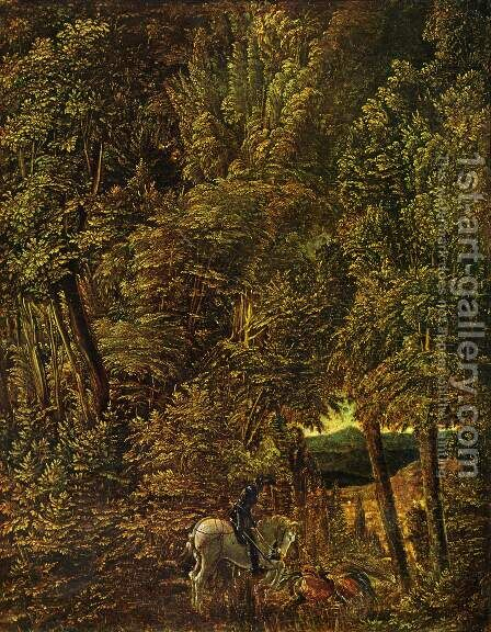 Forest Landscape with St. George's dragon fight by Albrecht Altdorfer - Reproduction Oil Painting