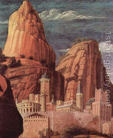Christ on the Mount of Olives to the Garden of Gethsemane, detailed city landscape 2 by Andrea Mantegna - Reproduction Oil Painting