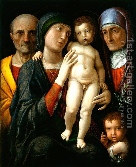 Holy Family with St. Elizabeth and John the Baptist by Andrea Mantegna - Reproduction Oil Painting