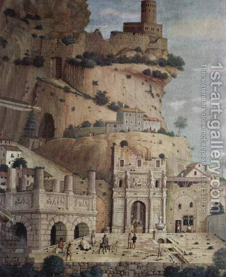 St. Sebastian, detail ruin architecture by Andrea Mantegna - Reproduction Oil Painting