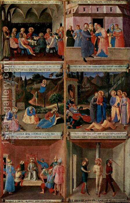Image cycle to scenes of Christ's life for a cabinet for storing silverware by Angelico Fra - Reproduction Oil Painting