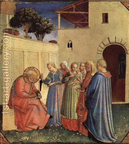 Inclusion of the name for baptism, a fragment of a polyptych by Angelico Fra - Reproduction Oil Painting