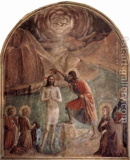 Frescoes in the Dominican convent of San Marco in Florence scene Baptism of Christ by John by Angelico Fra - Reproduction Oil Painting