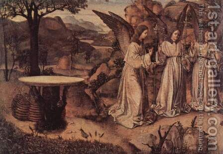 Appearance of three angels before Abraham, fragment by Antonello da Messina Messina - Reproduction Oil Painting