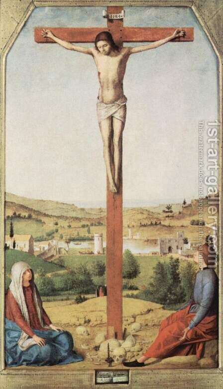 Crucifixion, with Mary and John by Antonello da Messina Messina - Reproduction Oil Painting
