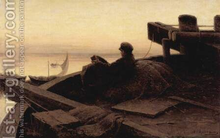On the Volga by Abram Efimovich Arkhipov - Reproduction Oil Painting