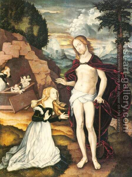 Christ as a gardener (Noli me tangere) by Hans Baldung  Grien - Reproduction Oil Painting