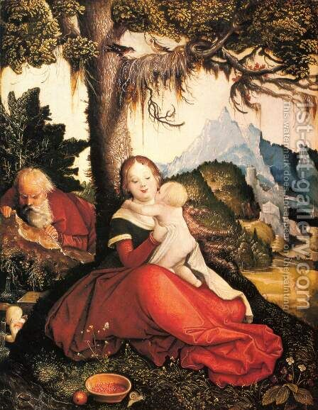 Holy Family in the open (Rest on the Flight) by Hans Baldung  Grien - Reproduction Oil Painting