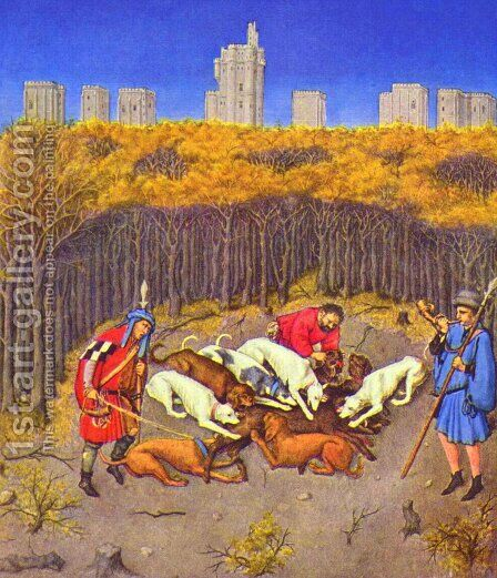 Tres Riches Heures du Duc Jean de Berry (The Hours of the Duke of Berry), scene Month of December (Boar Hunt) by Barthelemy d' Eyck - Reproduction Oil Painting