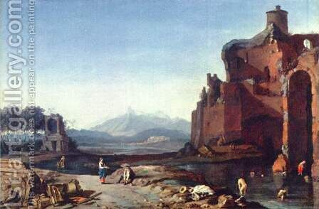 Italian landscape with the Aurelian wall by Bartholomeus Breenbergh - Reproduction Oil Painting