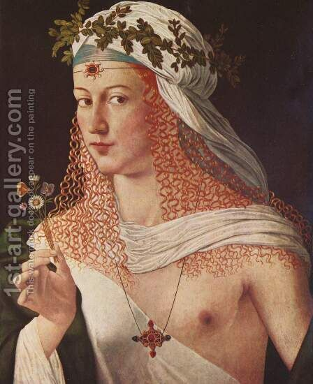 Courtesan (portrait of Lucrezia Borgia) by Bartolomeo Veneto - Reproduction Oil Painting